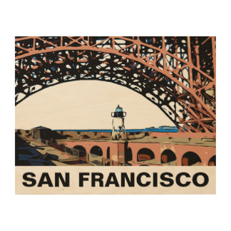 FORT POINT LIGHT WOOD PRINT