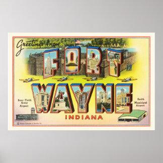 Fort Wayne #2 Indiana IN Vintage Travel Souvenir Poster