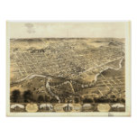 Fort Wayne Indiana 1868 Antique Panoramic Map Poster