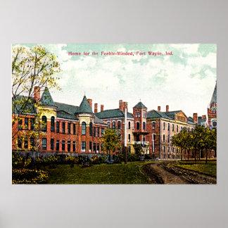 Fort Wayne, Indiana Asylum 1910 Print