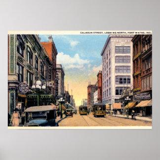 Fort Wayne, Indiana Calhoun Street 1920 Print