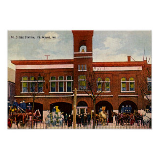 Fort Wayne, Indiana Fire Station 3 1915 Posters