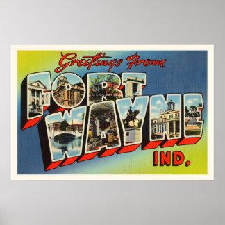 Fort Wayne Indiana IN Old Vintage Travel Souvenir Poster