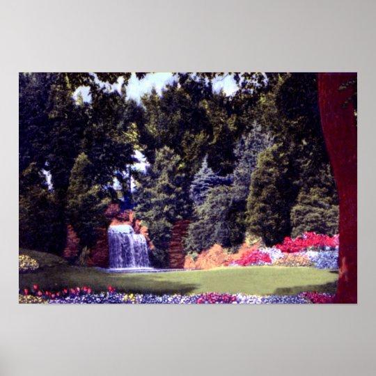 Fort Wayne Indiana Jaenicke Gardens Waterfall Poster