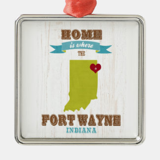 Fort Wayne, Indiana Map – Home Is Where The Heart Christmas Ornament
