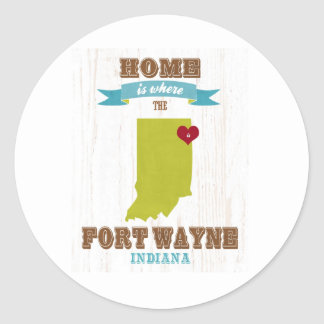 Fort Wayne, Indiana Map – Home Is Where The Heart Round Sticker