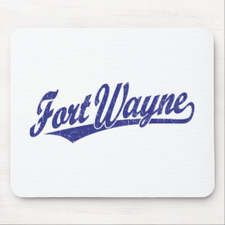Fort Wayne script logo in blue distressed Mouse Pad