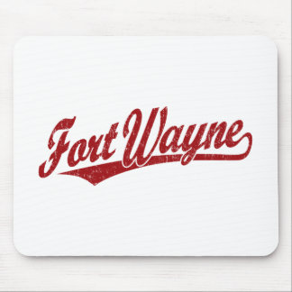 Fort Wayne script logo in red distressed Mouse Pads