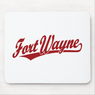 Fort Wayne script logo in red Mouse Pads