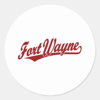 Fort Wayne script logo in red Sticker