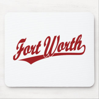 Fort Worth script logo in red Mousepads