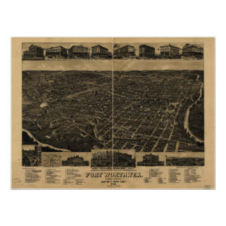 Fort Worth Texas 1886 Antique Panoramic Map Poster