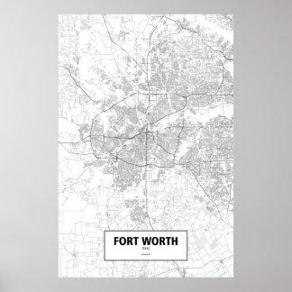 Fort Worth, Texas (black on white) Poster
