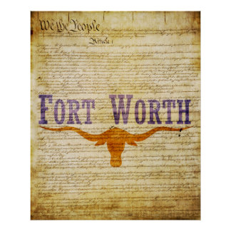 Fort Worth Texas Flag Poster
