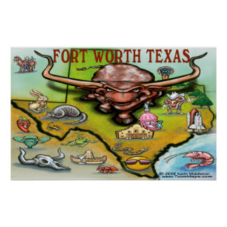 Fort Worth TEXAS Map Poster