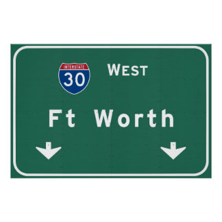 Fort Worth Texas tx Interstate Highway Freeway : Poster