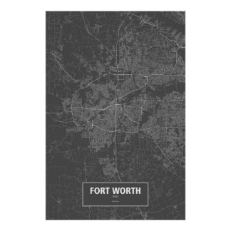 Fort Worth, Texas (white on black) Poster