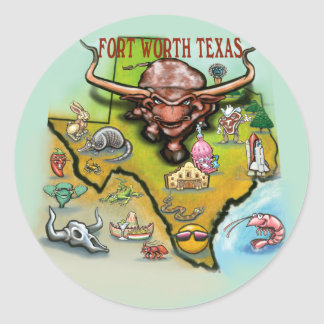 Fort Worth TX Classic Round Sticker