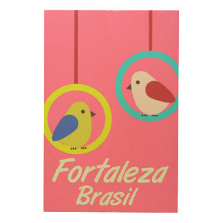 Fortaleza Brazil vintage travel poster Wood Canvas