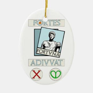 Fortes Fortuna Adiuvat Ceramic Oval Decoration