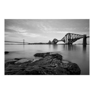 Forth Bridges Black & White Poster