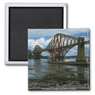 Forth Railway Bridge over Firth, Scotland Square Magnet