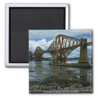 Forth Railway Bridge over Firth, Scotland Square Magnet