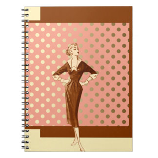 Forties Fashion with Brown Pink and Gold Spiral Notebook