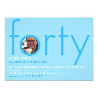 Fortieth Birthday 13 Cm X 18 Cm Invitation Card