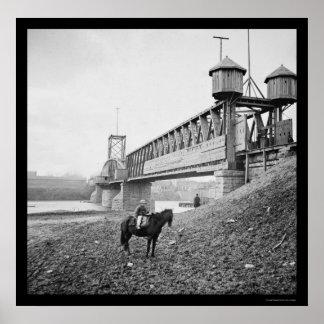 Fortified Railroad Bridge at Nashville, TN 1864 Poster