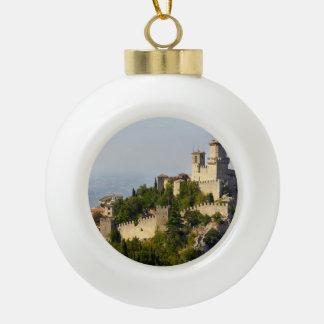 Fortress of Città di San Marino, Italy Ceramic Ball Christmas Ornament