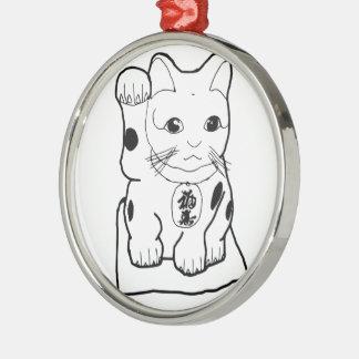"""Fortune Cat"" Silver-Colored Round Decoration"