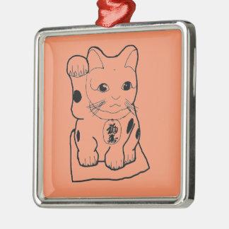 """""""Fortune Cat"""" Silver-Colored Square Decoration"""