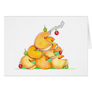 Fortune Cookie Christmas Tree Greeting Card