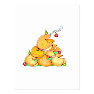 Fortune Cookie Christmas Tree Postcard