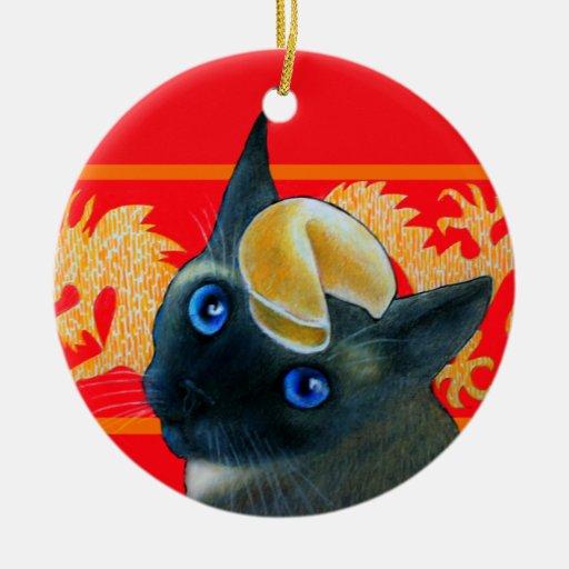 Fortune Cookie Siamese Cat Ornament