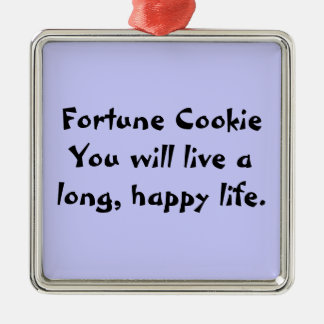 Fortune Cookie Silver-Colored Square Decoration