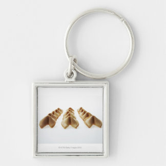 Fortune Cookies in three rows Silver-Colored Square Key Ring