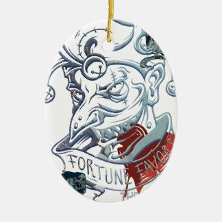 Fortune Favors Bold Joker Card Gambling Poker Ceramic Oval Decoration