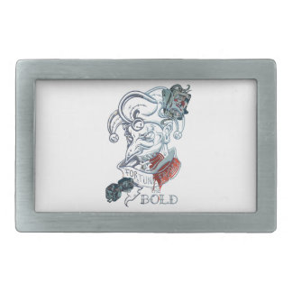 Fortune Favors Bold Joker Card Gambling Poker Rectangular Belt Buckle
