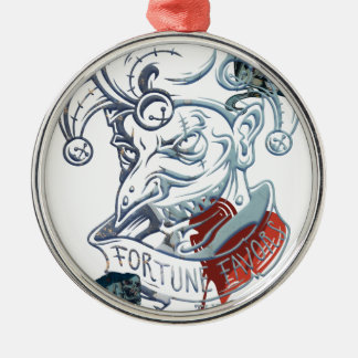 Fortune Favors Bold Joker Card Gambling Poker Silver-Colored Round Decoration