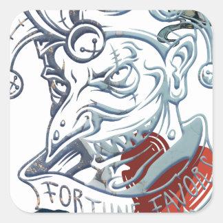 Fortune Favors Bold Joker Card Gambling Poker Square Sticker