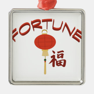 Fortune Silver-Colored Square Decoration