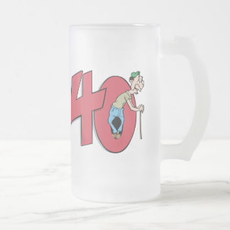 Forty - 40 year old Birthday Greeting Frosted Glass Mug