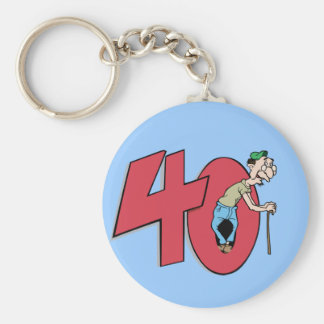 Forty - 40 year old Birthday Greeting Key Chain