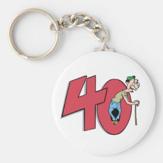 Forty - 40 year old Birthday Greeting Keychain
