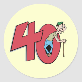 Forty - 40 year old Birthday Greeting Classic Round Sticker