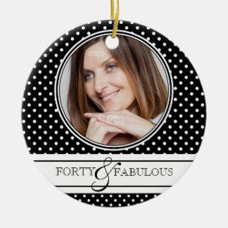 Forty and Fabulous Stylish BW Polkadots Christmas Ornament
