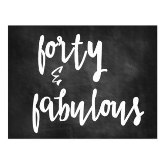 Forty & Fabulous - 40th Birthday Chalkboard Card