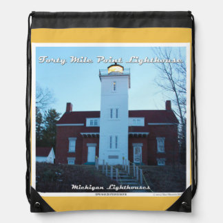 Forty Mile Point Lighthouse: Drawstring Backpack